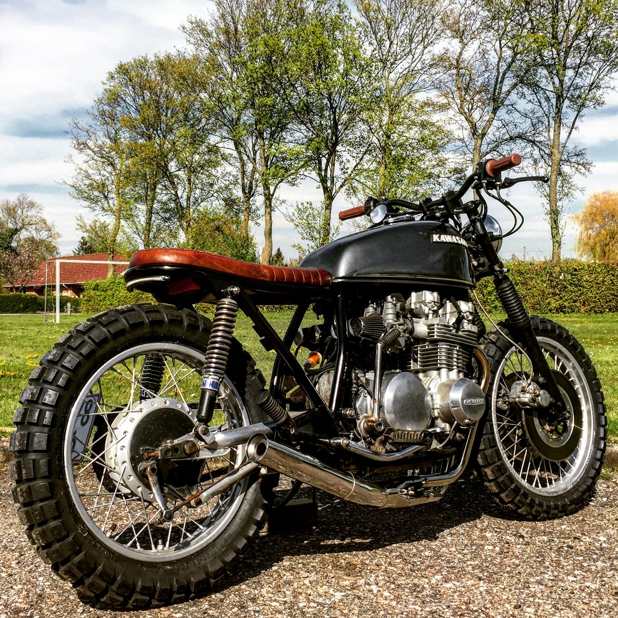 My Motorcycle Is A Private Project Between Me And Father Just Good Times In The Garage Kawasaki KZ650 Scrambler