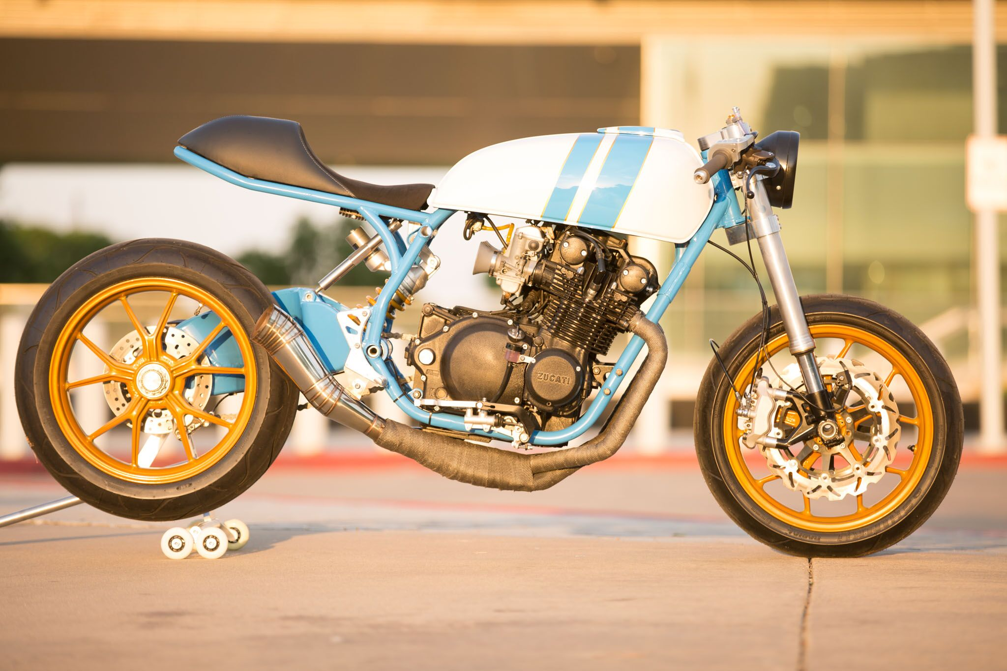 "Enter machinist Justin Page, who decided to mate the single-sided swingarm and wheels from a 2008 Ducati 1098 to the GS750 motor. The result is the ""Zucati ..."