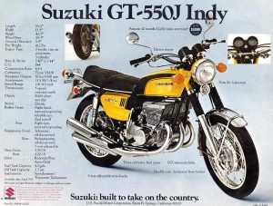 Stock Suzuki GT550 Brochure