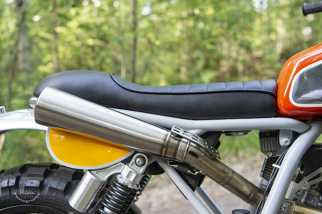 Aluminum fenders are fitted for this bike Head lamp and gauge holder is my own design as well.